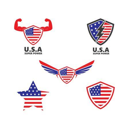 u.s.a flag vector illustration design template