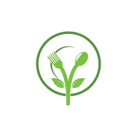 fork and spoon with leaves icon of vegetarian food vector design