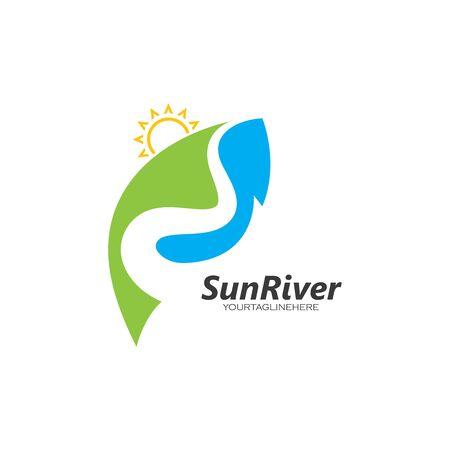 sun river logo icon vector illustration design 向量圖像