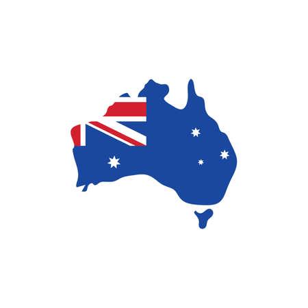 australian flag map concept vector icon illustration design template