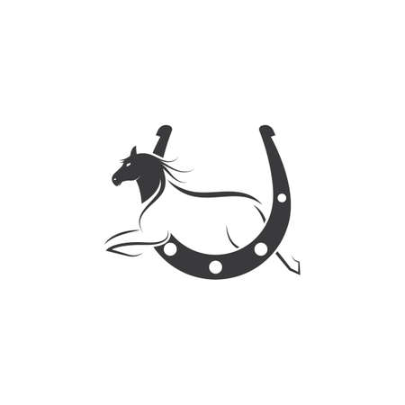 horse shoe icon logo vector illustration design