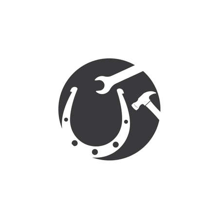horse shoe service repair  icon logo vector illustration design