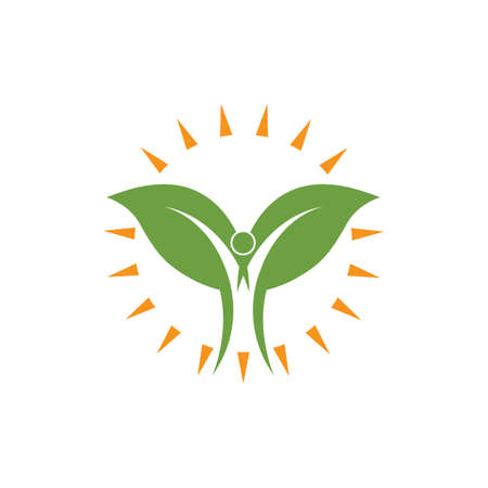 Healthy Life people leaf  Logo vector icon concept design