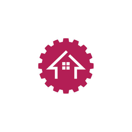 gear house icon  vector template design