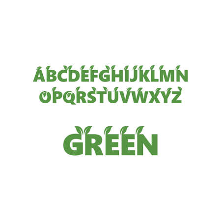 modern font with eco leaf vector design template Stock Illustratie