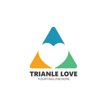 triangle Love Logo Vector icon illustration design Template