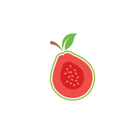 guava fruit vector icon illustration design template