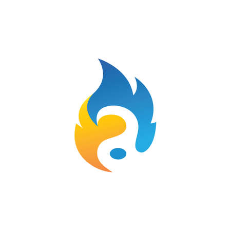 A Letter  fire flame concept   Vector icon design template