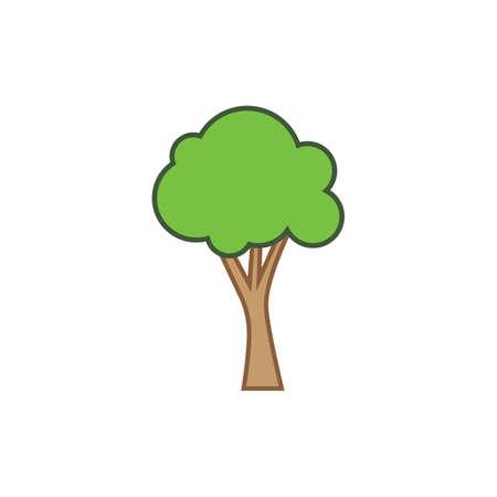 tree cartoon vector icon illustration design template