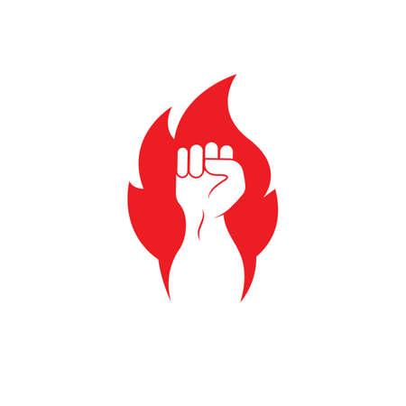 strong hand with hot fire vector illustration design Vettoriali