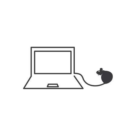 laptop with mouse    icon vector illustration design