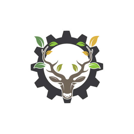 Deer head  with leaf  concept design icon vector illustration  ilustration icon vector design template Illustration