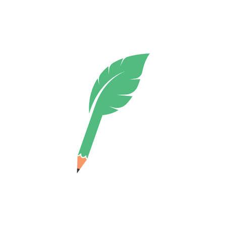 pencil leaf vector icon illustration  design