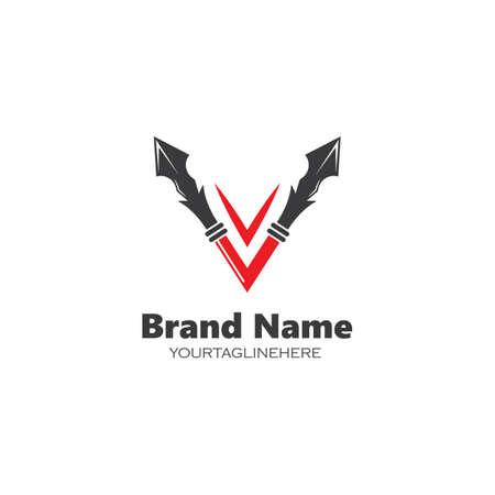 v letter spear icon vector illustration design template