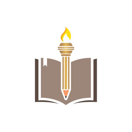 education pencil  torch icon  illustration vector design Illustration