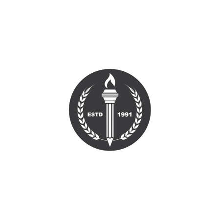 education pencil  torch icon  illustration vector design Stock Illustratie