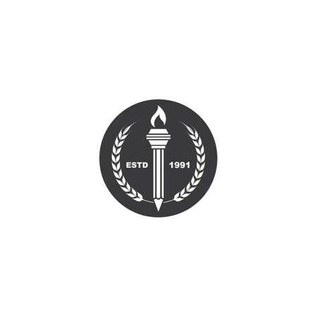 education pencil  torch icon  illustration vector design Illustration