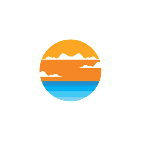 sunset in the sea  icon vector illustration design template