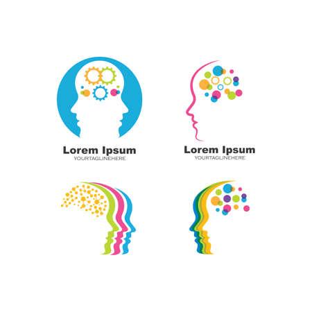 brain head vector illustration design template