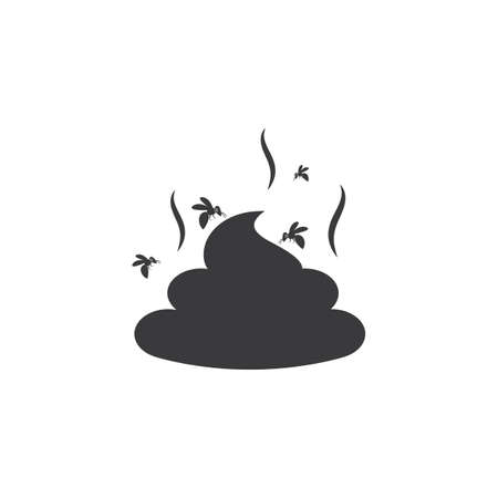 feces with flies icon vector illustration design template