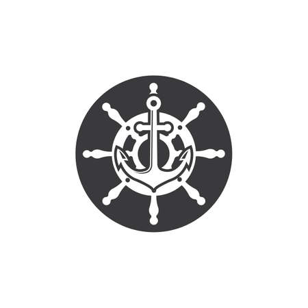 steering ship anchor vector icon of maritime illustration template design