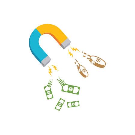 money magnet,benefit earnings vector illustration concept design Vettoriali