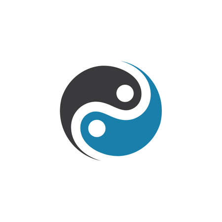 yin yang people concept design vector icon illustration template