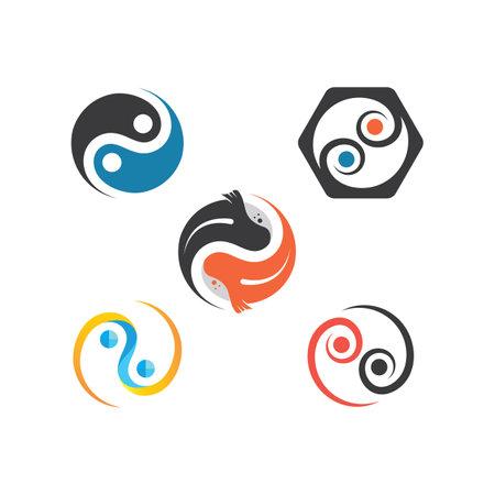 yin yang koi fish concept design vector icon illustration template