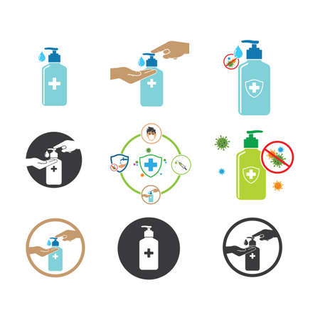using hand sanitizer icon vector illustration design template web