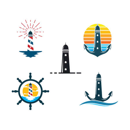 lighthouse icon vector illustration design template