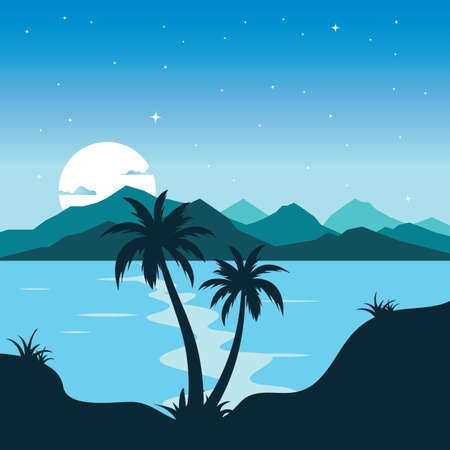 island night view landscape vector illlustration design