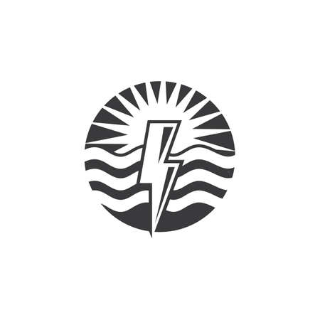 flash thunder bolt with wave  illustration vector template