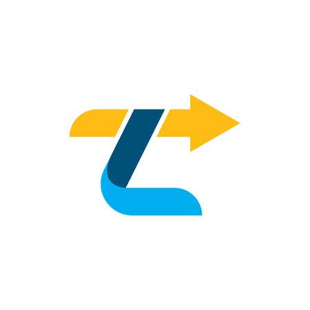 zl letter arrow icon  business vector design template