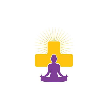 Meditation cross template vector icon design