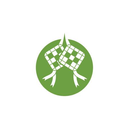 ketupat or rice dumpling,traditional food of indonesian  icon vector illustration design template web