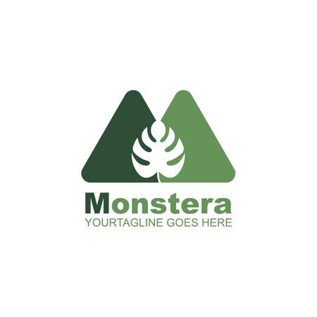 m letter monstera leaf icon vector illustration design template 矢量图像
