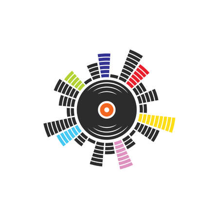 music vinyl equalizer icon vector illustration design template web