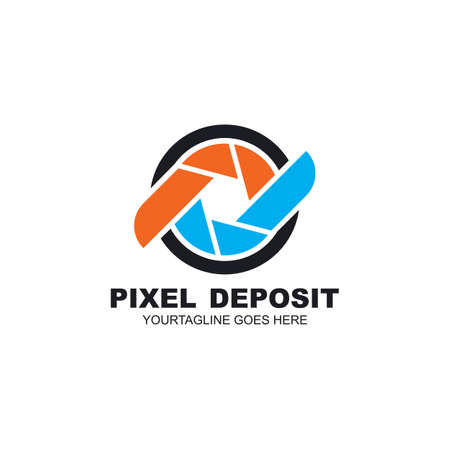 pd or dp letter camera pixel icon vector logo design concept web