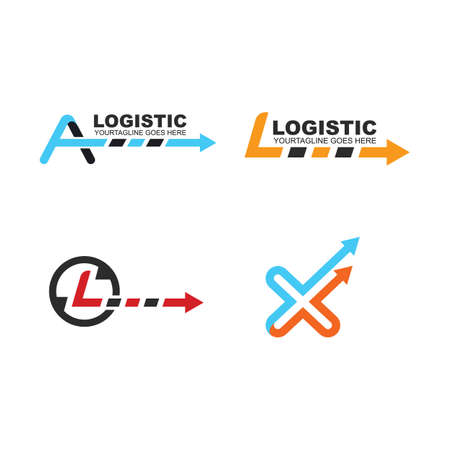 letter arrow logistic delivery icon set vector illustration Template design