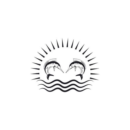 marlin fish icon logo illustration vector