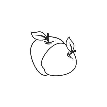 Apple icon line vector illustration design template web