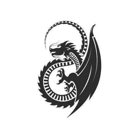 Dragon icon vector    illustration design template Vettoriali
