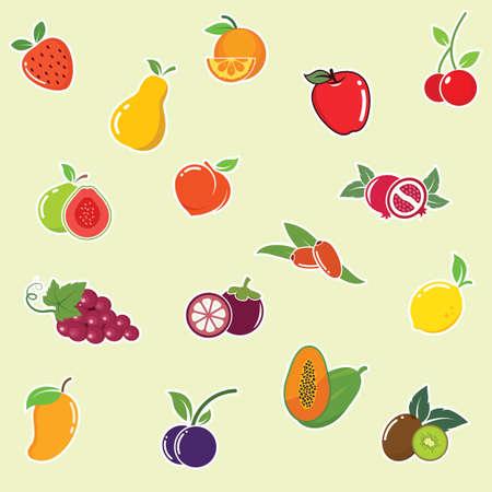 fruits clipart set vector illustration design template web