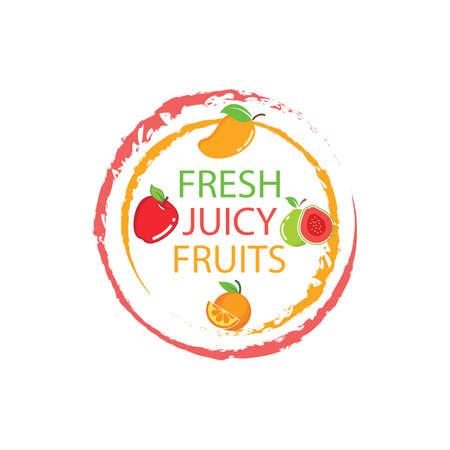 fresh juicy fruits vector illustration design template Vettoriali