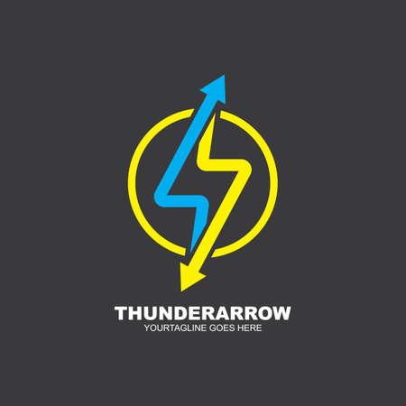 thunderbolt arrow vector icon illustration design template web Vettoriali