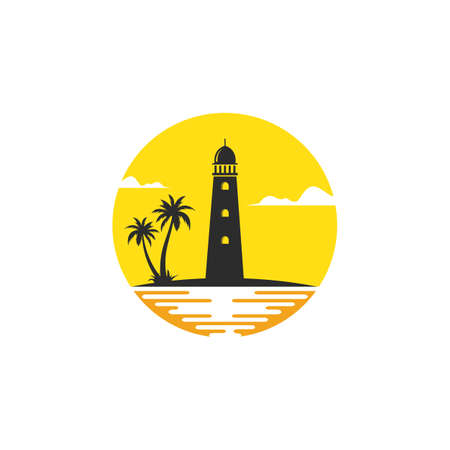 lighthouse palm tree icon  vector illustration design template