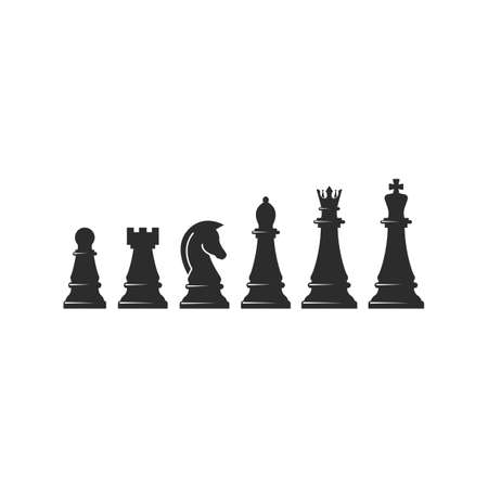 set of chess pieces   icon vector illustration design template 向量圖像