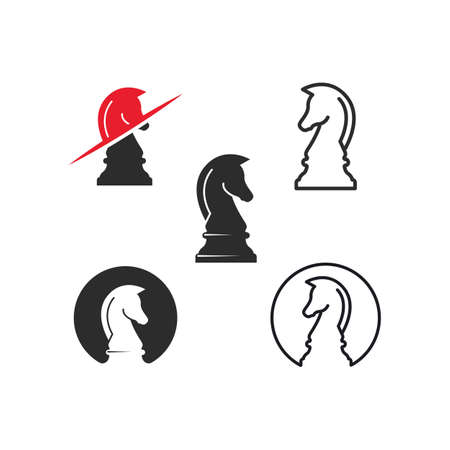 horse knight chess icon vector illustration design template 向量圖像
