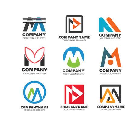 M Letter  vector  icon  Template  Illustration design 向量圖像