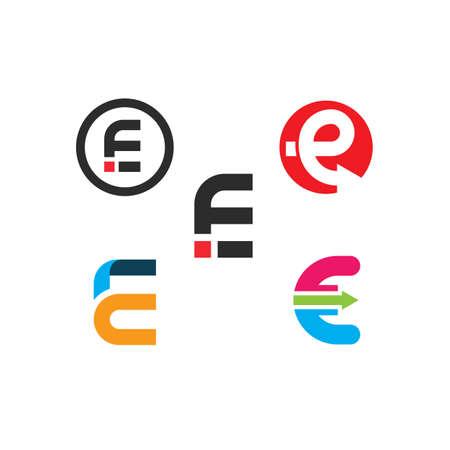 E letter arrow vector icon illustration design